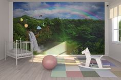 Waterfall in Kauai with Rainbow - Wall Mural & Photo Wallpaper - Photowall