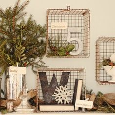 wire baskets - cool idea to hang a basket on the wall