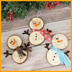 Wooden Christmas Crafts, Christmas Ornament Crafts, Kids Christmas, Holiday Crafts, Snowman Ornaments, Ornaments Ideas, Christmas Garlands, Christmas Cards, Snowman Wreath