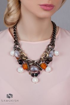 Statement necklace with grey and orange agates and majorica pearls