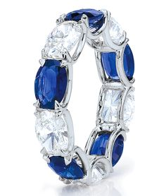 Cellini Jewelers Oval Cut diamond and sapphire eternity band. Custom Available at Cellini Jewelers Cute Jewelry, Jewelry Rings, Jewelery, Women's Rings, Sapphire Eternity Band, Eternity Bands, Sapphire Jewelry, Diamond Jewelry, Titanic Jewelry