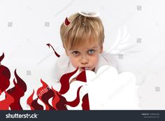 Naughty or good child for Christmas card? PF or letter to Santa-Claus for Christmas. Little child boy appearing as an adorable angelic devil Kids Christmas, Christmas Cards, Little Children, Santa Letter, Kids Boys, Devil, Lettering, Image, Christmas E Cards
