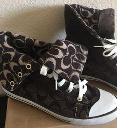 d56a452ca204 Details about Pre Owed Authentic Bonney Coach Convers Sneakers Brown