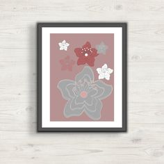 Flower Printable Wall Art Decor, Dusty Rose Grey and White Digital Art, Print at home, Geometric Art, Home Decor Nursery Decor, Vector Image by CreativesByLAMM on Etsy