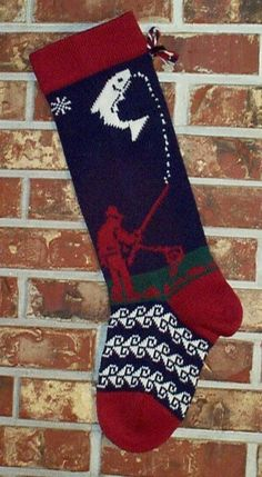 knit christmas stockings | Fisherman Knit Christmas Stocking