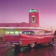 Cadillac Rosa, Pink Cadillac, 1959 Cadillac, Carros Retro, Drive In, Pink Drive, Photo Deco, New Retro Wave, Photo Wall Collage