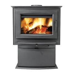 Contemporary Design A New Contemporary Wood Burning Stove Complete With A  Modern Cast Iron Door And Pedestal Base.