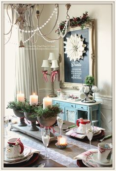 Dining Room Chalkboard-French Farmhouse Vintage Christmas Dining Room- From My Front Porch To Yours
