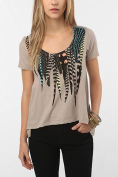 Title Unknown Photo Feathers Swing Tee #UrbanOutfitters