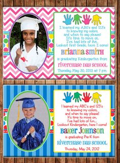Boy or Girl Preschool Pre-K Kindergarten Elementary Graduation Photo Picture Announcement Invitation - DIGITAL FILE