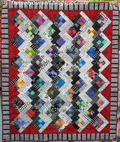 Four-Patch Log Cabin Quilt by Ann Brooks at Fret Not Yourself blog