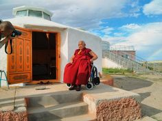 HH Taklung Tsetrul Rinpoche and the rainbow in the Gobi.