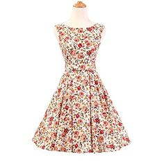 Miss Hollywood Vintage Rockabilly Floral Print 50s Pinup Party Swing Dress  *** Want additional