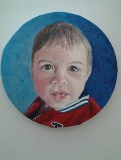 Kleinzoon David ,  hier 10 maanden oud, geschilderd in Acryl