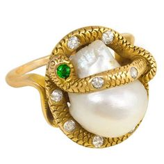 Antique Freshwater Pearl and Gemset Gold Serpent Ring | See more rare vintage More Rings at https://www.1stdibs.com/jewelry/rings/more-rings