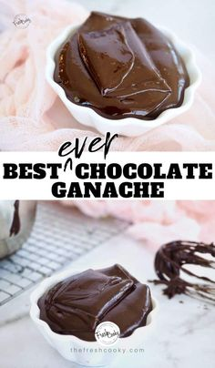 How to make EASY chocolate ganache with only 3 ingredients. Using real chocolate, heavy cream and a little butter. Recipe via Dark Chocolate Ganache Recipe, Chocolate Icing Recipes, Chocolate Butter, Frosting Recipes, Dessert Recipes, Recipe For Ganache, Chocolate Ganche, Cake Recipes, Easy Chocolate Desserts