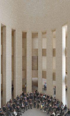 The House of One in Berlin - der für alle Religionen gemeinsame Kuppelsaal im Zentrum des Gebäudes. ©KuehnMalvezzi