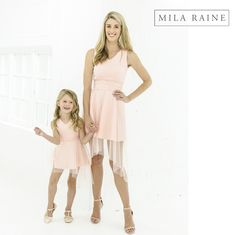 Matching Mesh Cascade Dresses for moms and daughters