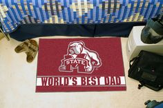 "Mississippi State Bulldogs World's Best Dad Starter Area Rug Floor Mat 20"""" X 30"""""