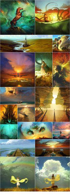 digital art by rhads 4 digital art by rhads 2 Fantastic Art, Amazing, Color Script, Cg Artwork, Illustration Art, Illustrations, Game Concept Art, 2d Art, Office Ideas
