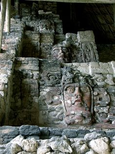 Temple of the Figureheads - Kohunlich mayan ruins at costa maya mexico