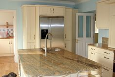 images of finished exotic granite in kitchens | Solarius Granite Kitchen Countertop Island Finished Installed Granix 7