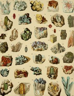 1900 Antique fine lithograph of CRYSTAL ROCKS. MINERALS. 113 years old nice print. via Etsy