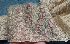 Antique French Silk Tambour Lace Tulle Spectacular Corded Floral Trim Bride Doll