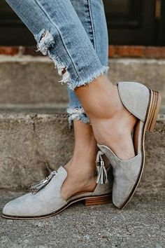 b0a88ab79f6 Pointed Toe Cut Out Tassel Loafer Flats. Loafers OutfitTassel LoafersLow  Heel ShoesLow ...