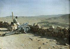 Pièce de 65 de montagne défendant la route de Dehiba dans la vallée de l'oued Tataouine. Avant plan : observateur surveillant la route avant le passage de la caravane