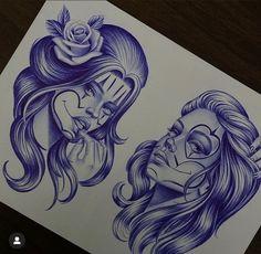 Chicanas Tattoo, Skull Girl Tattoo, Inca Tattoo, Chicano Drawings, Badass Drawings, Lowrider Drawings, Mayan Symbols, Viking Symbols, Egyptian Symbols
