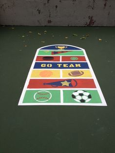 Fit and Fun Playscapes - Sports Hopscotch Outdoor Playground Stencil Large Stencils, Custom Stencils, Stenciled Floor, Floor Stickers, Hopscotch, School Spirit, Four Square, Playground, Repeat