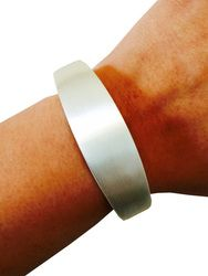 "Fitbit Bracelet for Fitbit Flex Activity Trackers - The TORY 7"" Brushed Silver Bangle Fitbit Bracelet by FUNKtional Wearables."