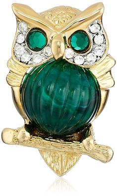 Kenneth Jay Lane Small Owl Brooch. Innovative, gifted and imaginative. Made in United States.