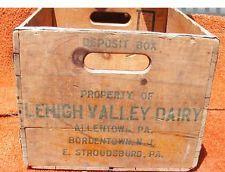 1957 Lehigh Valley Dairy Wooden Milk Box Crate Allentown Pa.Bordentown,Nj