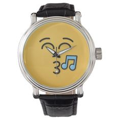 Whistling Face with Smiling Eyes Wristwatch - accessories accessory gift idea stylish unique custom