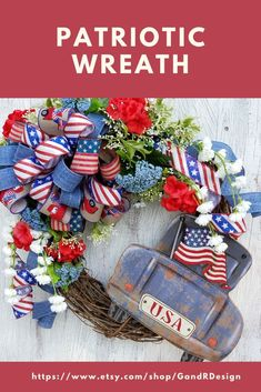 Show your patriotic pride and support for our country with this rustic patriotic wreath that centers on the vintage old truck. Available now in our Etsy shop. Patriotic Wreath, Patriotic Decorations, Military Wreath, Wreath Bows, Baby Shower Gifts For Boys, Welcome Wreath, Easter Wreaths, Summer Wreath, Wreaths For Front Door