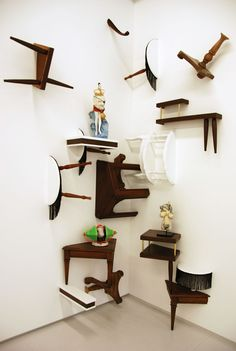 "Bari Ziperstein - 2008  'For Display Purposes Only'   Pinner states: ""I love love LOVE this as a quirky alternative to plain old Ikea shelves as vertical cat playground.""#cats #CatShelves"