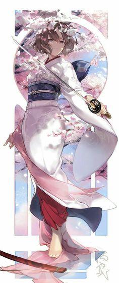 Sakura and brown hair eyes anime lady Cool Anime Girl, Beautiful Anime Girl, Kawaii Anime Girl, Anime Art Girl, Manga Art, Anime Girls, Anime Kimono, Anime Angel, Anime Style