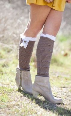 Lace Boot Socks leg warmers OTK Cable Knitted by ThreeBirdNest, $28.50