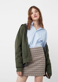 Textured cotton skirt | MANGO