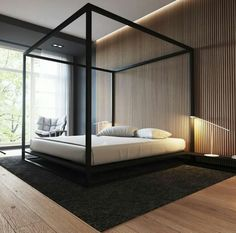 Spacious and Open Bedroom with Canopy Bed - Best Men's Bedroom Decor Ideas: Cool Bedroom Decorating Designs For Guys - Modern Masculine Bedroom Interior Design Home Bedroom, Bedroom Wall, Bedroom Furniture, Master Bedroom, Bedroom Decor, Bedroom Ideas, Dream Bedroom, Bedroom Green, Furniture Design