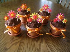 flower pot dirt cake  | flower pot cakes chocolate cakes baked in 4 clay flower pots with ...