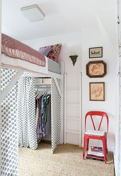 Make the most of a small dorm room by using curtains other places than the windows, like to cover a closet.