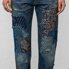 (ALLEEN FOTO ter inspiratie) Leef je uit met embroidery op je spijkerbroek