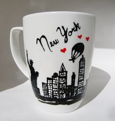 Long Distance New York State Skyline Mugs w/ hearts by 39Cups, $14.95
