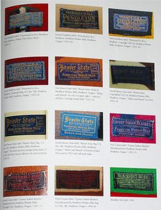 """Pendleton labels"" -- Introduction to Wool Indian Trade Blankets, Barry Friedman. Vintage Tags, Vintage Labels, Vintage Wool, Vintage Textiles, Vintage Denim, Vintage Stuff, Vintage Shirts, Hudson Bay Blanket, Types Of Textiles"