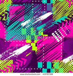 Abstract seamless chaotic pattern with urban geometric elements, scuffed, drops, sprays. Grunge neon texture background. Wallpaper for boys and girls
