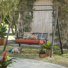 For me, it is actually a patio swing. I resided in 3 various houses growing as well as 2 out of the 3 had a huge front porch and a veranda swing. Patio Swing Set, Porch Swing Frame, Porch Swing With Stand, Yard Swing, Diy Swing, Pergola Swing, Metal Pergola, Diy Pergola, Pergola Ideas