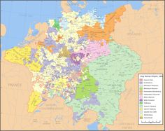 Map of the Holy Roman Empire in 1648, after the Peace of Westphalia which ended the Thirty Years' War